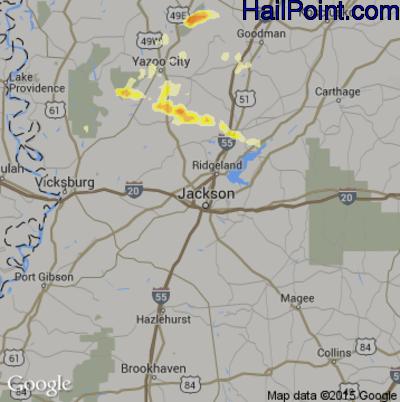 Hail Map for Jackson, MS Region on April 5, 2012