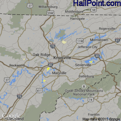 Hail Map for Knoxville, TN Region on April 5, 2012
