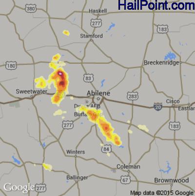 Hail Map for Abilene, TX Region on April 7, 2012