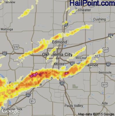 Hail Map for Oklahoma City, OK Region on April 13, 2012