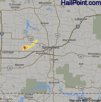 Hail Map for Springfield, MO Region on April 14, 2012