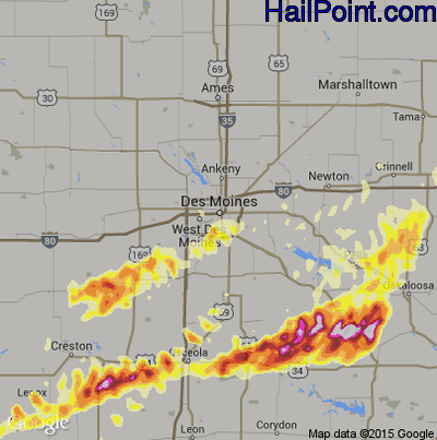 Hail Map for Des Moines, IA Region on April 14, 2012