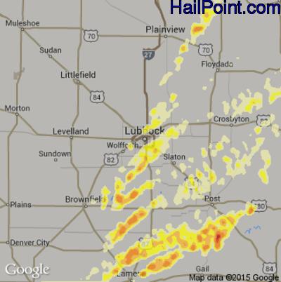 Hail Map for Lubbock, TX Region on April 15, 2012