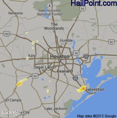 Hail Map for Houston, TX Region on April 20, 2012