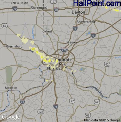 Hail Map for Cincinnati, OH Region on April 26, 2012