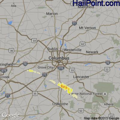 Hail Map for Columbus, OH Region on April 26, 2012