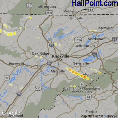 Hail Map for Knoxville, TN Region on April 26, 2012