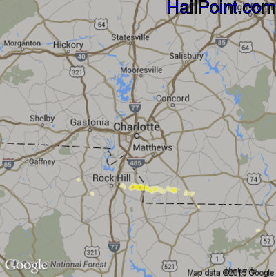 Hail Map for Charlotte, NC Region on April 26, 2012