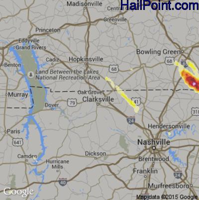 Hail Map for Clarksville, TN Region on April 26, 2012