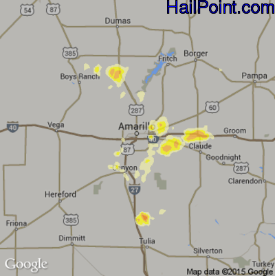 Hail Map for Amarillo, TX Region on April 26, 2012