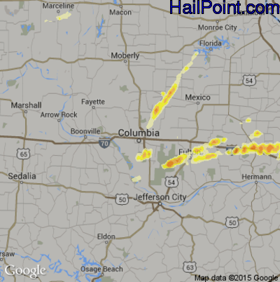 Hail Map for Columbia, MO Region on April 28, 2012