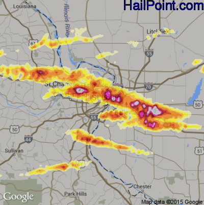 Hail Map for St. Louis, MO Region on April 28, 2012