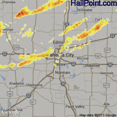 Hail Map for Oklahoma City, OK Region on April 29, 2012
