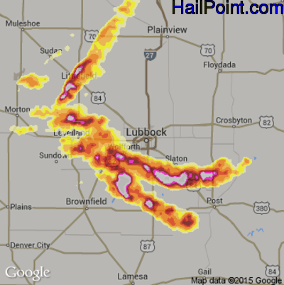 Hail Map for Lubbock, TX Region on April 30, 2012