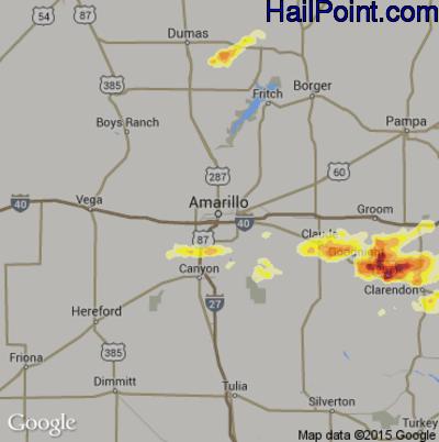 Hail Map for Amarillo, TX Region on April 30, 2012