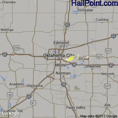 Hail Map for Oklahoma City, OK Region on May 1, 2012