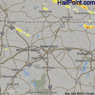 Hail Map for Greensboro, NC Region on May 1, 2012