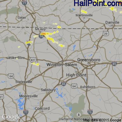 Hail Map for Winston-Salem, NC Region on May 1, 2012