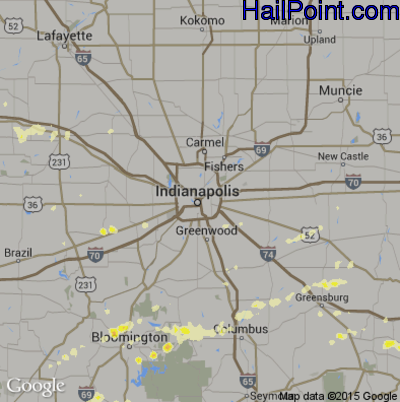 Hail Map for Indianapolis, IN Region on May 1, 2012