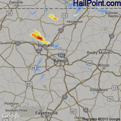 Hail Map for Raleigh, NC Region on May 1, 2012
