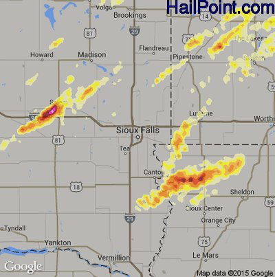 Hail Map for Sioux Falls, SD Region on May 1, 2012
