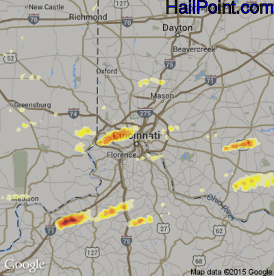 Hail Map for Cincinnati, OH Region on May 1, 2012