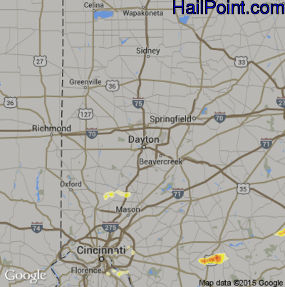 Hail Map for Dayton, OH Region on May 1, 2012