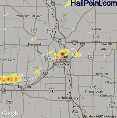 Hail Map for Omaha, NE Region on May 2, 2012