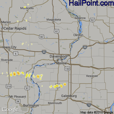 Hail Map for Davenport, IA Region on May 2, 2012