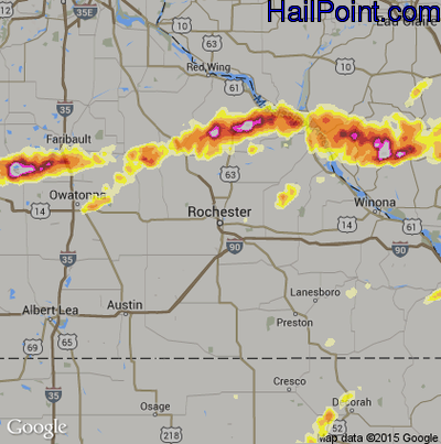 Hail Map for Rochester, MN Region on May 2, 2012