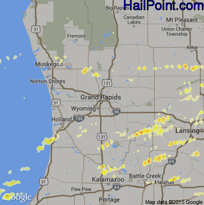 Hail Map for Grand Rapids, MI Region on May 3, 2012