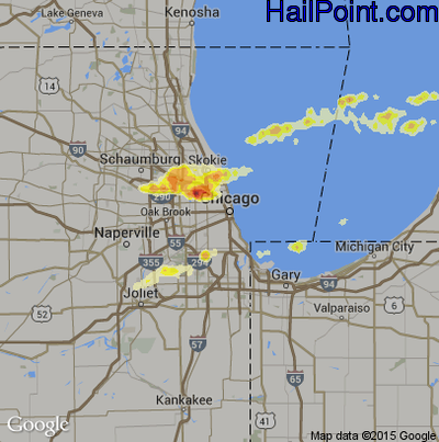 Hail Map for Chicago, IL Region on May 3, 2012