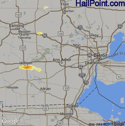 Hail Map for Ann Arbor, MI Region on May 4, 2012