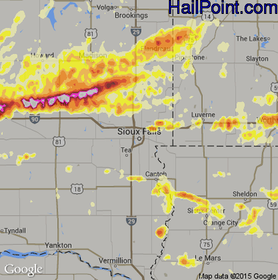 Hail Map for Sioux Falls, SD Region on May 4, 2012