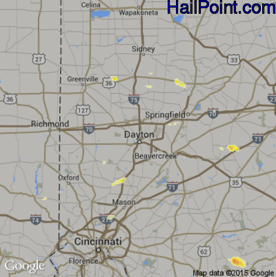 Hail Map for Dayton, OH Region on May 4, 2012