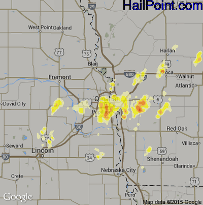 Hail Map for Omaha, NE Region on May 6, 2012