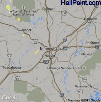 Hail Map for Birmingham, AL Region on May 6, 2012