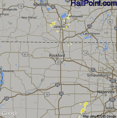 Hail Map for Rockford, IL Region on May 6, 2012