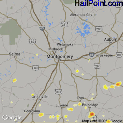 Hail Map for Montgomery, AL Region on May 6, 2012