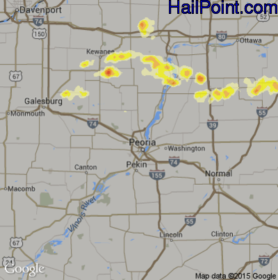 Hail Map for Peoria, IL Region on May 6, 2012