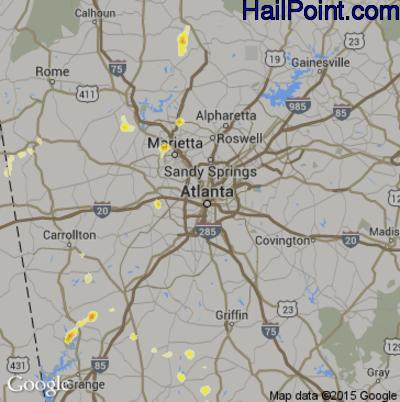 Hail Map for Atlanta, GA Region on May 6, 2012