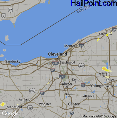 Hail Map for Cleveland, OH Region on May 7, 2012