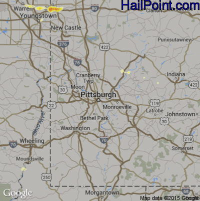 Hail Map for Pittsburgh, PA Region on May 7, 2012