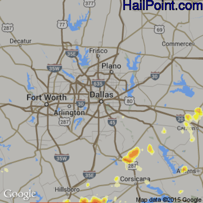 Hail Map for Dallas, TX Region on May 7, 2012