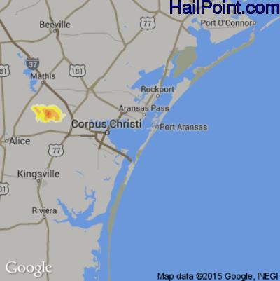 Hail Map for Corpus Christi, TX Region on May 8, 2012