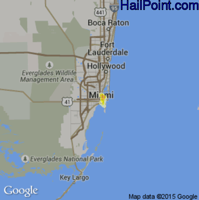 Hail Map for Miami, FL Region on May 9, 2012