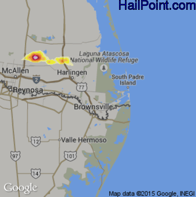 Hail Map for Brownsville, TX Region on May 10, 2012