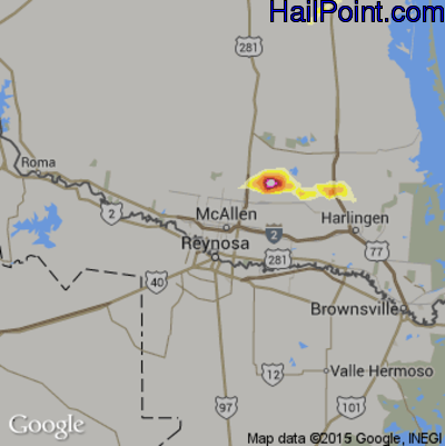Hail Map for McAllen, TX Region on May 10, 2012