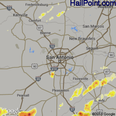 Hail Map for San Antonio, TX Region on May 10, 2012