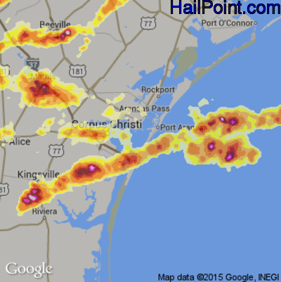 Hail Map for Corpus Christi, TX Region on May 10, 2012